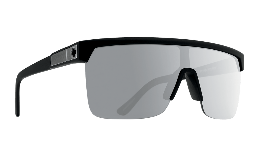 SPY Flynn 5050 Soft Matte Black - HD Plus Gray Green Polar with Silver Spectra Mirror SUNGLASSES - Spy Sunglasses Spy
