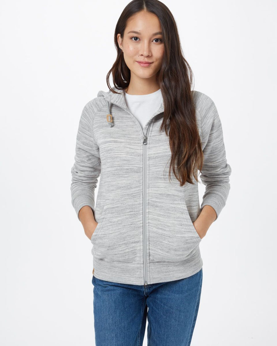 TENTREE Burney Zip Hoodie Women's Hi Rise Grey Space Dye WOMENS APPAREL - Women's Zip Hoodies Tentree