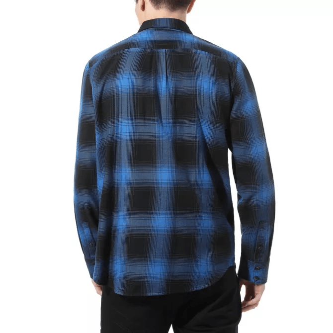 VANS Monterey III Button Up Shirt Black/Victoria Blue MENS APPAREL - Men's Long Sleeve Button Up Shirts Vans
