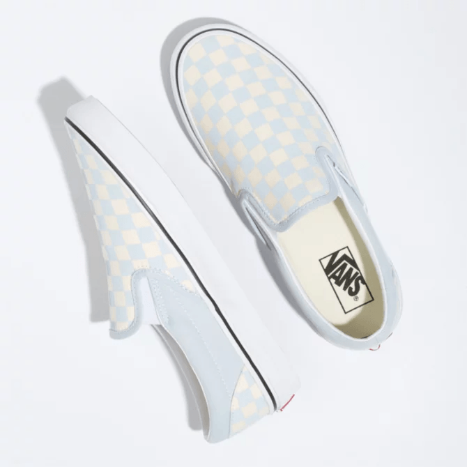 VANS Classic Slip On Shoes Women's Ballad Blue/True White Checkerboard FOOTWEAR - Women's Skate Shoes Vans 6