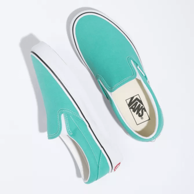 VANS Classic Slip On Shoes Women's Waterfall/True White FOOTWEAR - Women's Skate Shoes Vans 5