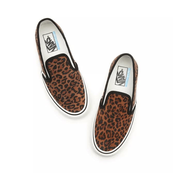 VANS Slip On Suede Shoes Women's Leopard Chipmunk/Marshmallow FOOTWEAR - Women's Skate Shoes Vans 7.5