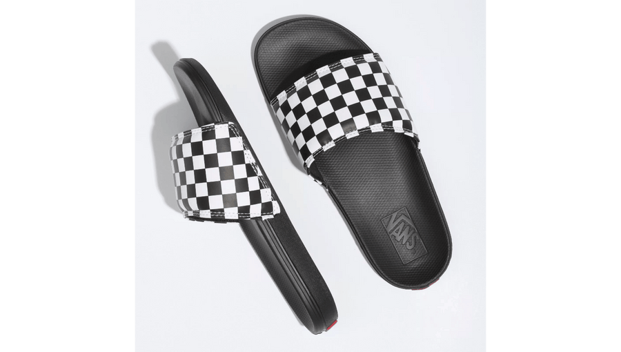 VANS La Costa Slide On Sandals Women's Black/White Checkerboard FOOTWEAR - Women's Sandals Vans