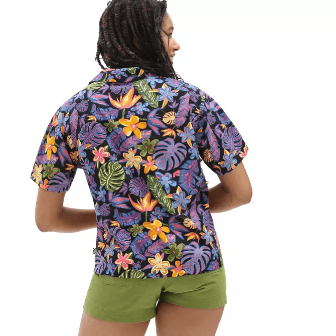 VANS Tropicali Shirt Women's Black WOMENS APPAREL - Women's Blouses Vans S