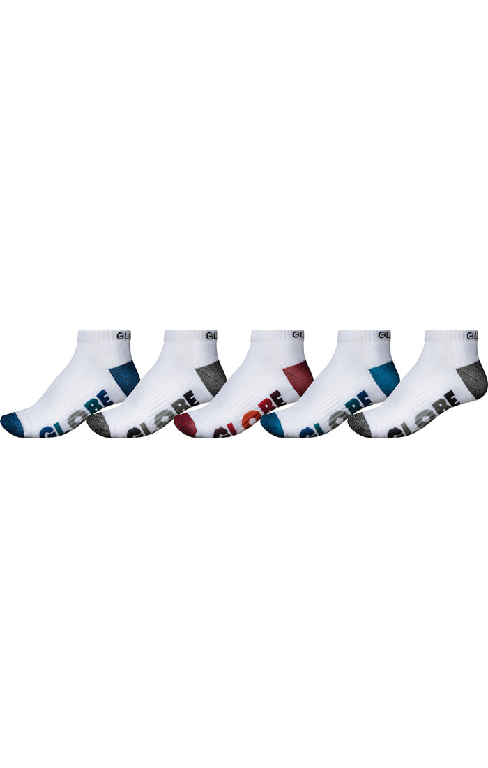 GLOBE Multi Stripe Ankle Socks 5 Pack White