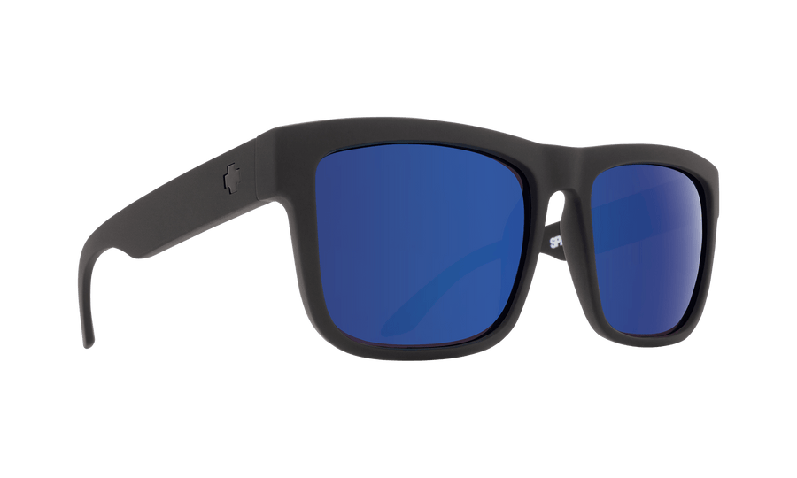 SPY Discord Soft Matte Black - HD Plus Dark Gray Green Polar with Dark Blue Spectra Mirror SUNGLASSES - Spy Sunglasses Spy