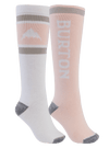 BURTON Weekend Midweight Snowboard Sock 2 Pack Women's Stout White/Peach Melba SNOWBOARD ACCESSORIES - Women's Snowboard Socks Burton