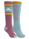 BURTON Weekend Midweight Snowboard Sock 2 Pack Women's Rose Brown/Trellis SNOWBOARD ACCESSORIES - Women's Snowboard Socks Burton