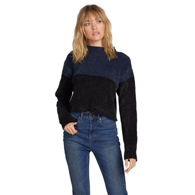 VOLCOM Madame Shady Sweater Women's Sea Navy WOMENS APPAREL - Women's Knits and Sweaters Volcom