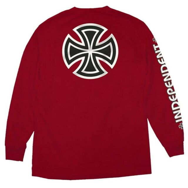 INDEPENDENT Bar Cross L/S T-Shirt Cardinal