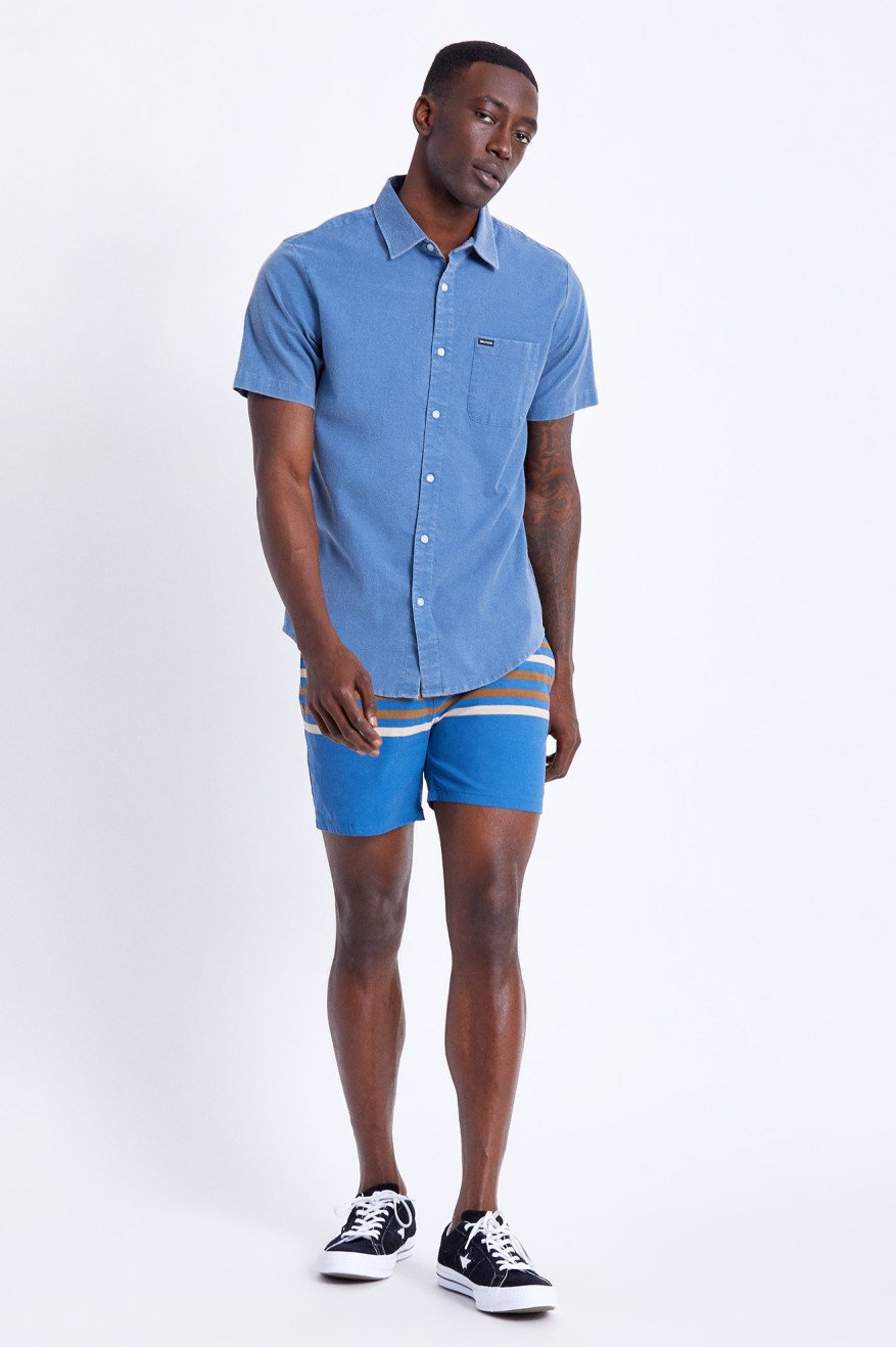 BRIXTON Voyage Shorts Joe Blue MENS APPAREL - Men's Hybrid Shorts Brixton