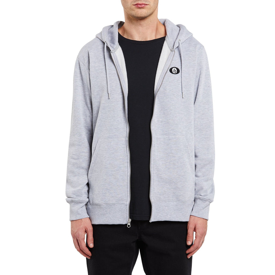 VOLCOM Single Stone Zip Hoodie Heather Grey MENS APPAREL - Men's Zip Hoodies Volcom