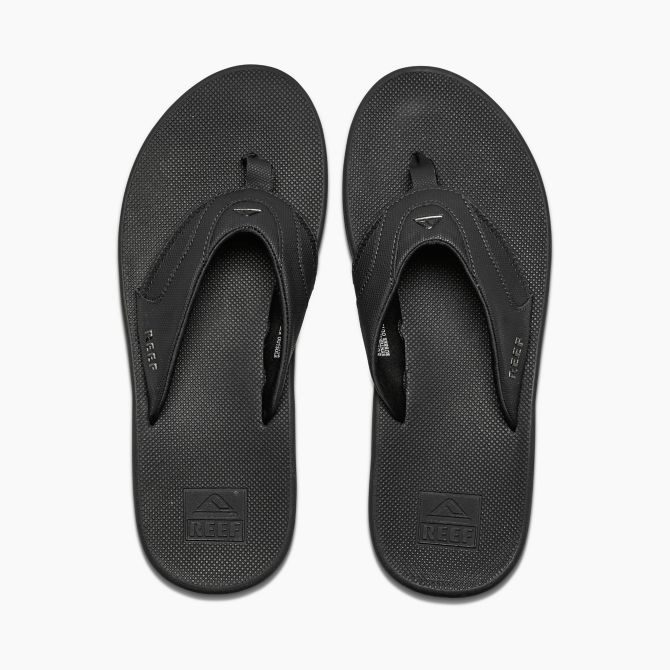 REEF Fanning All Black Sandals FOOTWEAR - Men's Sandals Reef