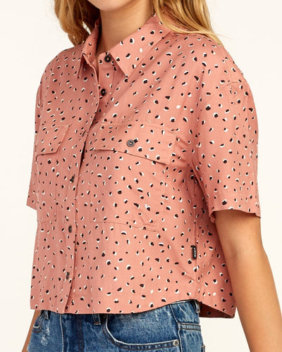 RVCA Voila Short Sleeve Button Up Shirt Women's Cameo Brown