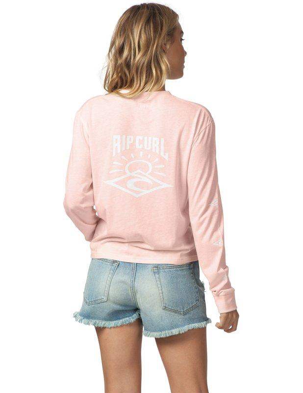 RIP CURL Cruising L/S Crop T-Shirt Pink WOMENS APPAREL - Women's Long Sleeve T-Shirts Rip Curl L