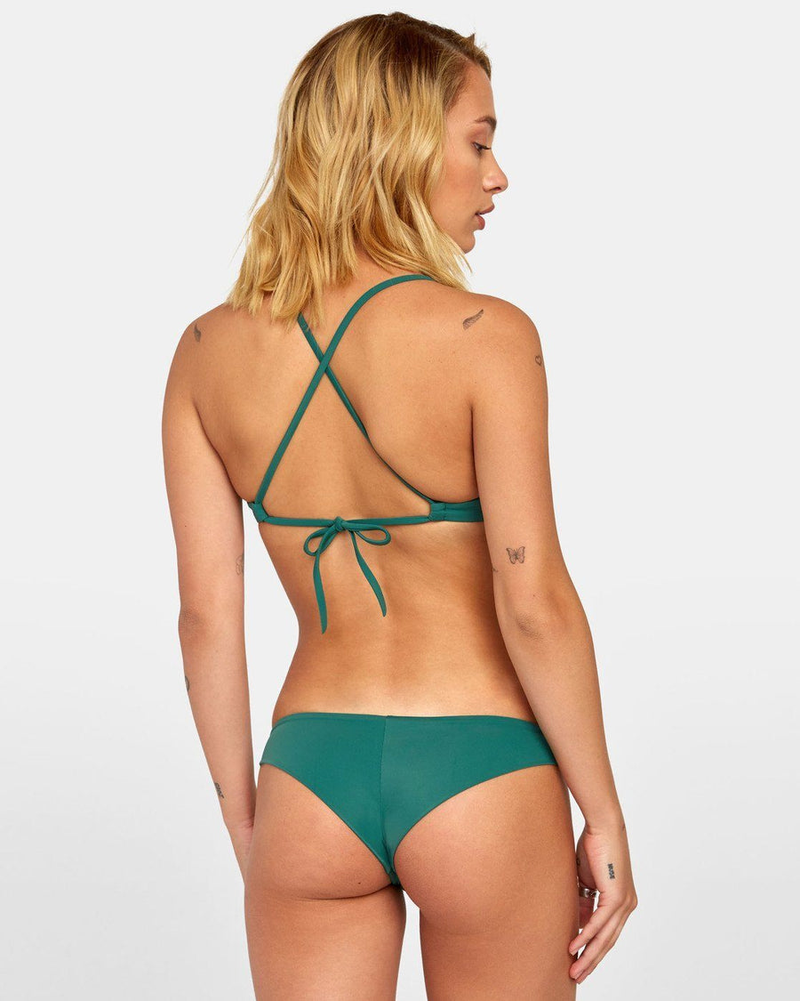 RVCA Solid Cross Back Bikini Top Women's Forest WOMENS APPAREL - Women's Swimwear Tops RVCA
