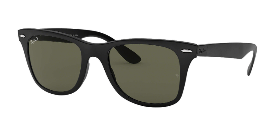 RAY-BAN Wayfarer Liteforce Matte Black - Green Classic G-15 Polarized Sunglasses