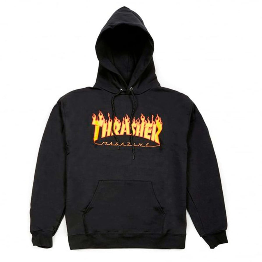THRASHER Flame Logo Pullover Hoodie Black MENS APPAREL - Men's Pullover Hoodies Thrasher