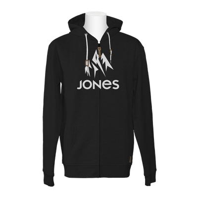 JONES Truckee Zip Hoodie Plain Black MENS APPAREL - Men's Zip Hoodies Jones Snowboards