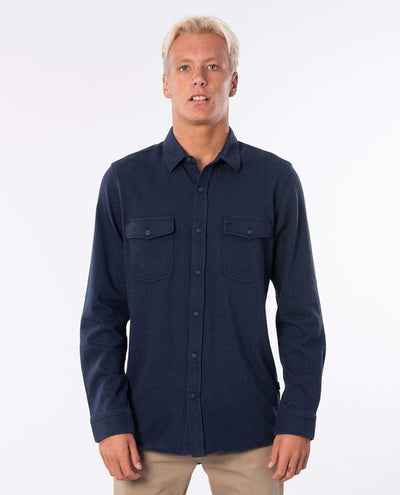 RIP CURL Searchers Moonlight L/S Button Up Shirt Indigo MENS APPAREL - Men's Long Sleeve Button Up Shirts Rip Curl
