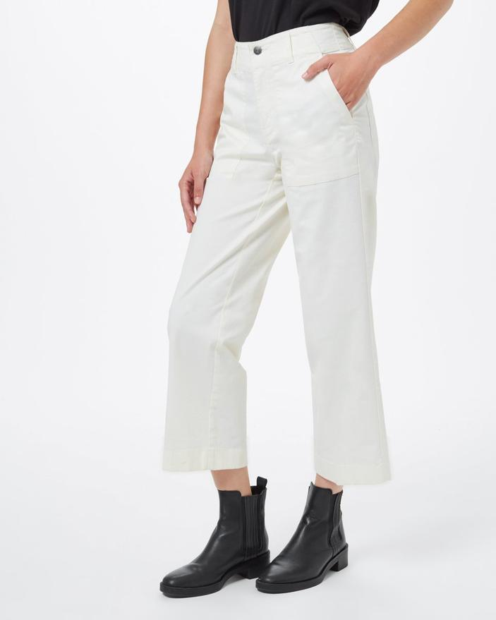 TENTREE Twill Cropped Wide Leg Pant Women's Elm White WOMENS APPAREL - Women's Pants Tentree