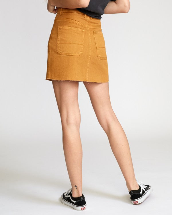 RVCA Rowdy Denim Mini Skirt Cathay Spice