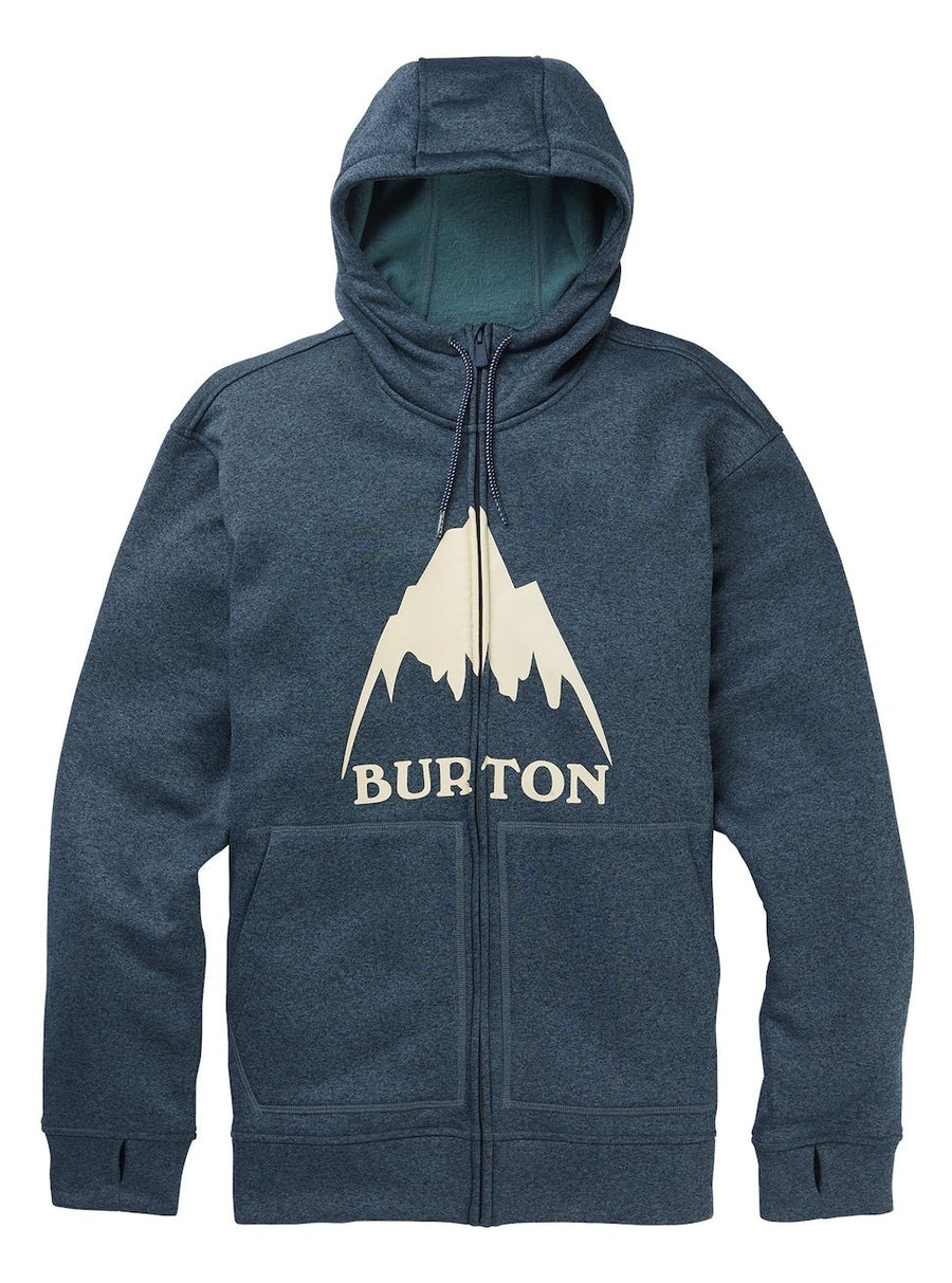 BURTON Oak Full Zip Hoodie Dress Blue Heather MENS APPAREL - Men's Zip Hoodies Burton