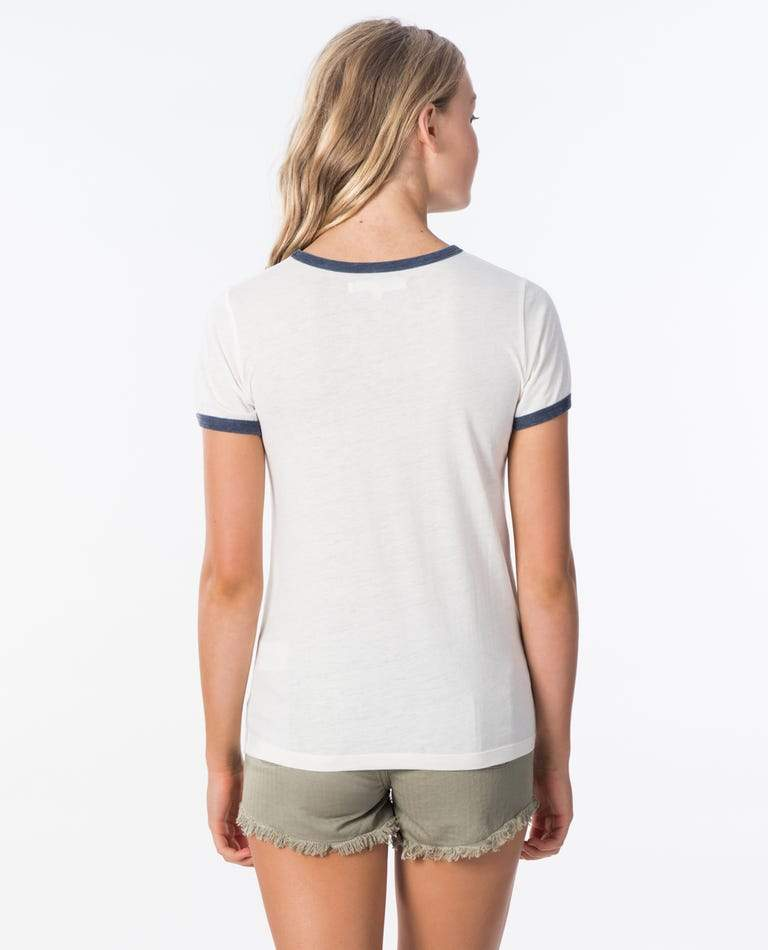 RIP CURL Last Wave Ringer T-Shirt Women's Bone WOMENS APPAREL - Women's T-Shirts Rip Curl L