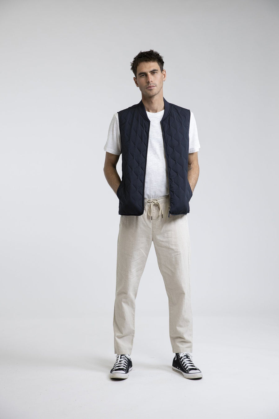 RHYTHM Seafarer Vest Navy MENS APPAREL - Men's Street Jackets Rhythm