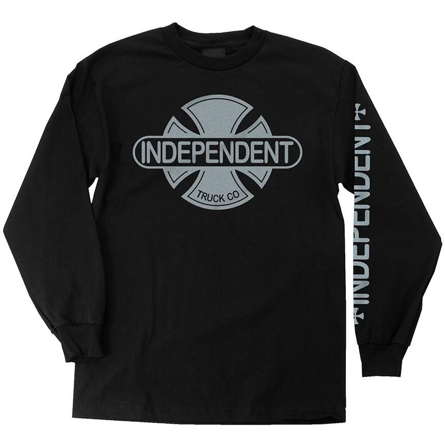 INDEPENDENT Baseplate L/S T-Shirt Black/Silver MENS APPAREL - Men's Long Sleeve T-Shirts Independent