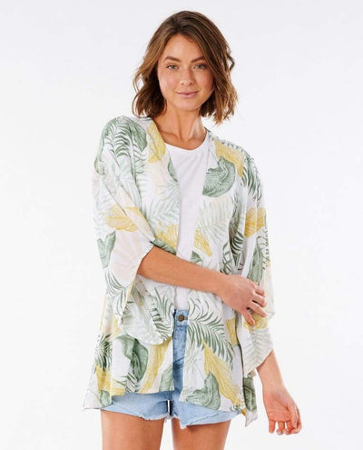 RIP CURL Coastal Palms Kimono Women's White WOMENS APPAREL - Women's Cover Ups and Kimonos Rip Curl XS