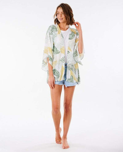 RIP CURL Coastal Palms Kimono Women's White WOMENS APPAREL - Women's Cover Ups and Kimonos Rip Curl
