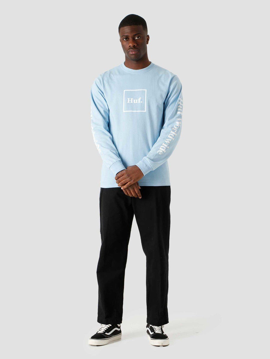 HUF Domestic Long Sleeve T-Shirt Light Blue MENS APPAREL - Men's Long Sleeve T-Shirts huf M
