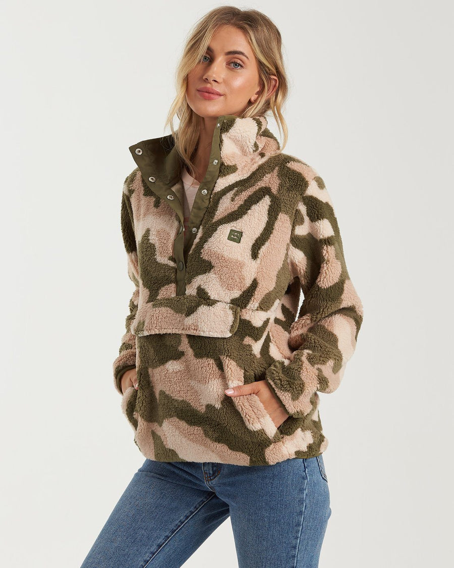 BILLABONG Switchback Pullover Fleece Women's Army Camo WOMENS APPAREL - Women's Pullover Hoodies Billabong