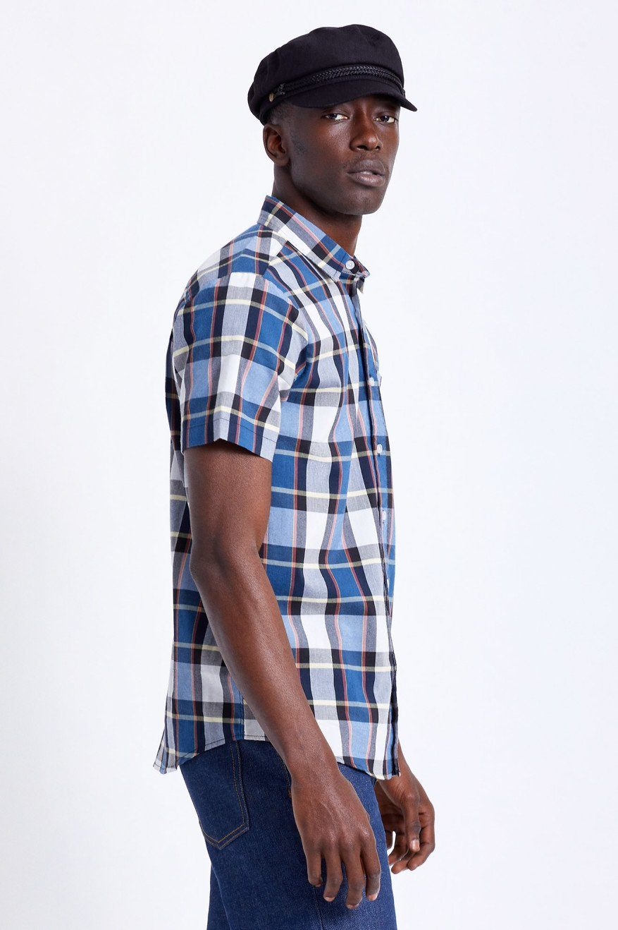 BRIXTON Charter Plaid S/S Button Up Joe Blue MENS APPAREL - Men's Short Sleeve Button Up Shirts Brixton