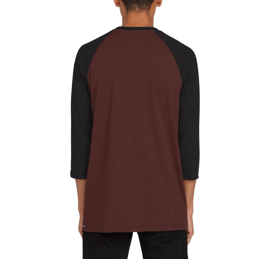 VOLCOM Solid Heather 3/4 Sleeve T-Shirt Mahogany MENS APPAREL - Men's 34 Sleeve T-Shirts volcom M