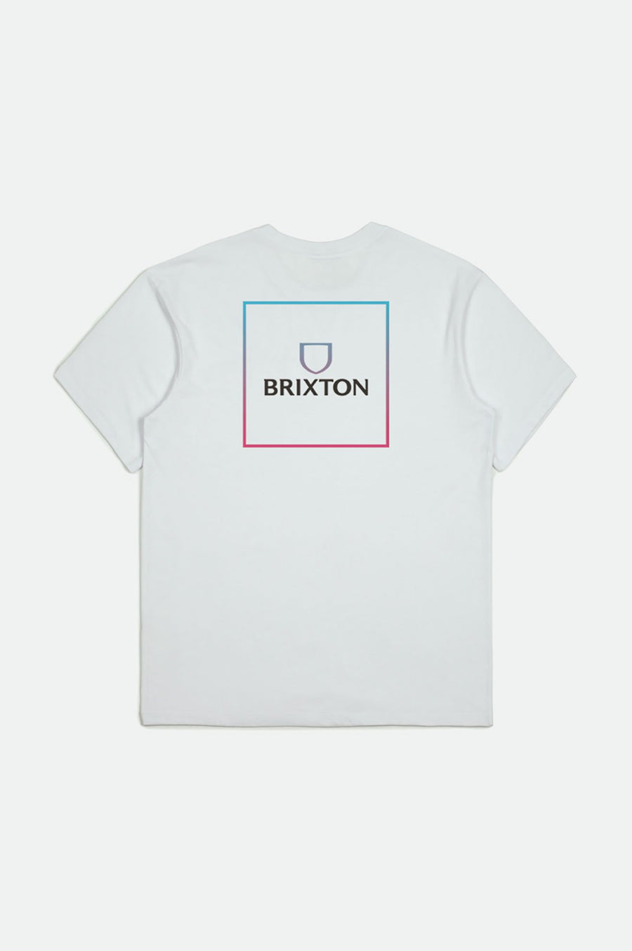 BRIXTON Alpha Square Standard T-Shirt White/ Light Blue/ Pink MENS APPAREL - Men's Short Sleeve T-Shirts Brixton M