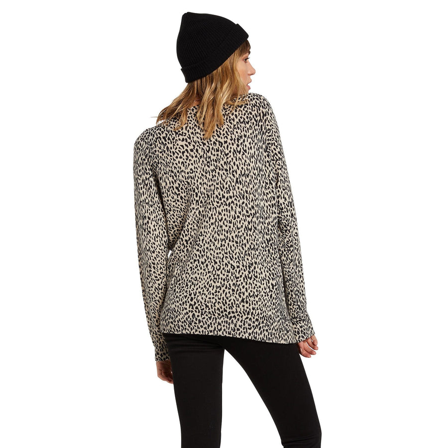 VOLCOM Over N Out Sweater Women's Leopard WOMENS APPAREL - Women's Knits and Sweaters Volcom