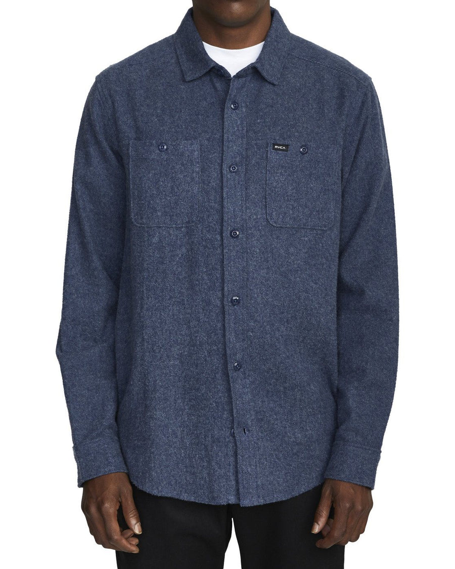 RVCA Harvest Long Sleeve Flannel Moody Blue MENS APPAREL - Men's Long Sleeve Button Up Shirts rvca M