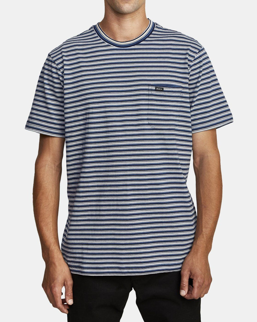 RVCA Downline Stripe T-Shirt Navy Marine MENS APPAREL - Men's Short Sleeve T-Shirts RVCA M