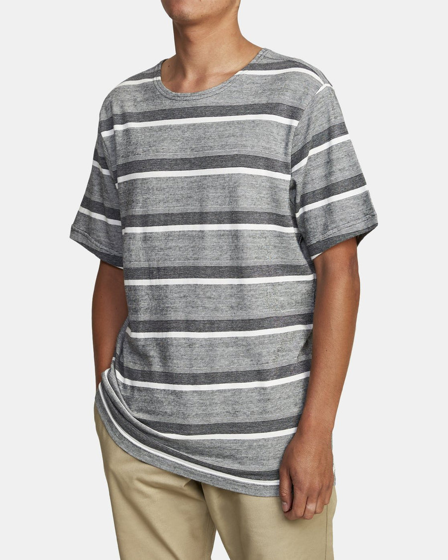 RVCA Repeater Stripe T-Shirt Black MENS APPAREL - Men's Short Sleeve T-Shirts RVCA M