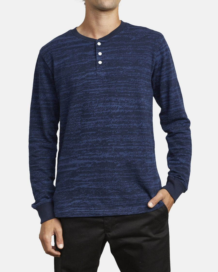 RVCA Lush Long Sleeve Henley Navy MENS APPAREL - Men's Long Sleeve T-Shirts RVCA M