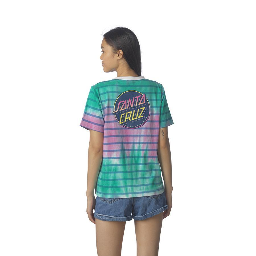 SANTA CRUZ Contra Dot Fade Relaxed T-Shirt Women's Cloud Stripe WOMENS APPAREL - Women's T-Shirts Santa Cruz XS