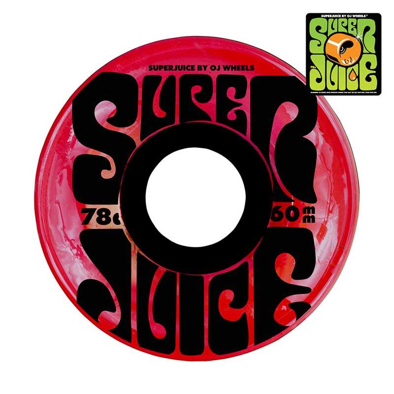 OJS Super Juice 78A 60mm Translucent Red Skateboard Wheels