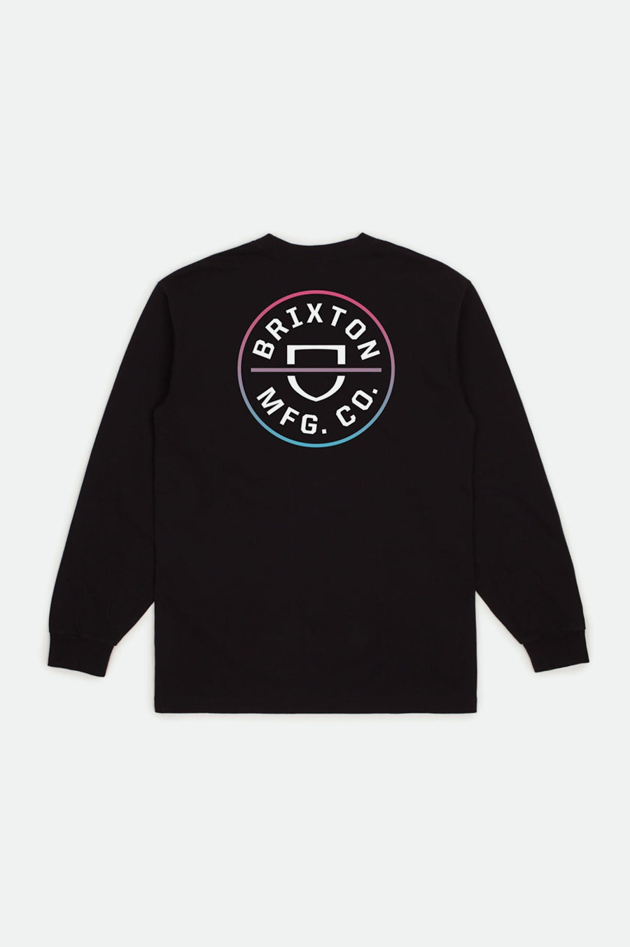 BRIXTON Crest Long Sleeve T-Shirt Black/Light Blue/Pink MENS APPAREL - Men's Long Sleeve T-Shirts Brixton M