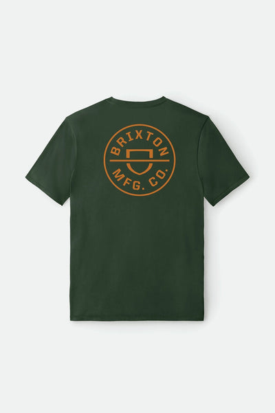 BRIXTON Crest Crossover T-Shirt Hunter Green MENS APPAREL - Men's Short Sleeve T-Shirts Brixton