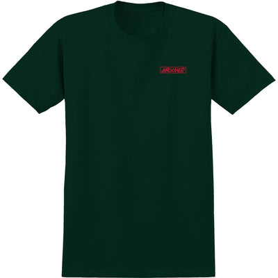 KROOKED Moon Smile Raw T-Shirt Forrest Green MENS APPAREL - Men's Short Sleeve T-Shirts Krooked