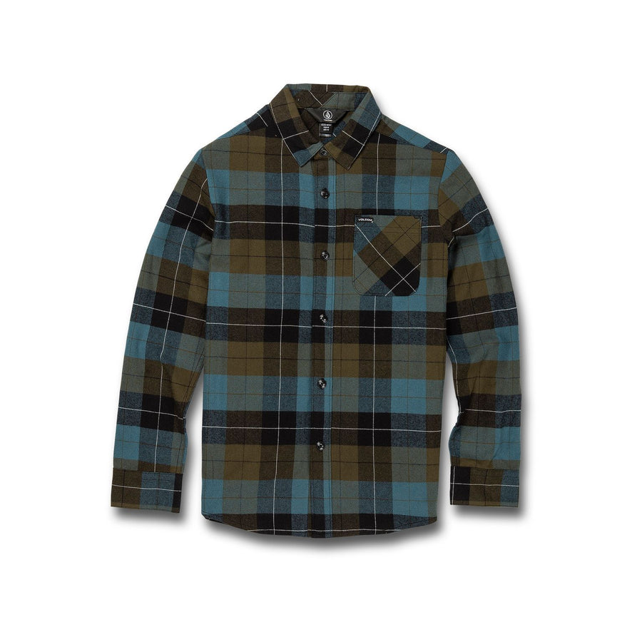 VOLCOM Caden Plaid Flannel Boys Military KIDS APPAREL - Boy's Tops Volcom