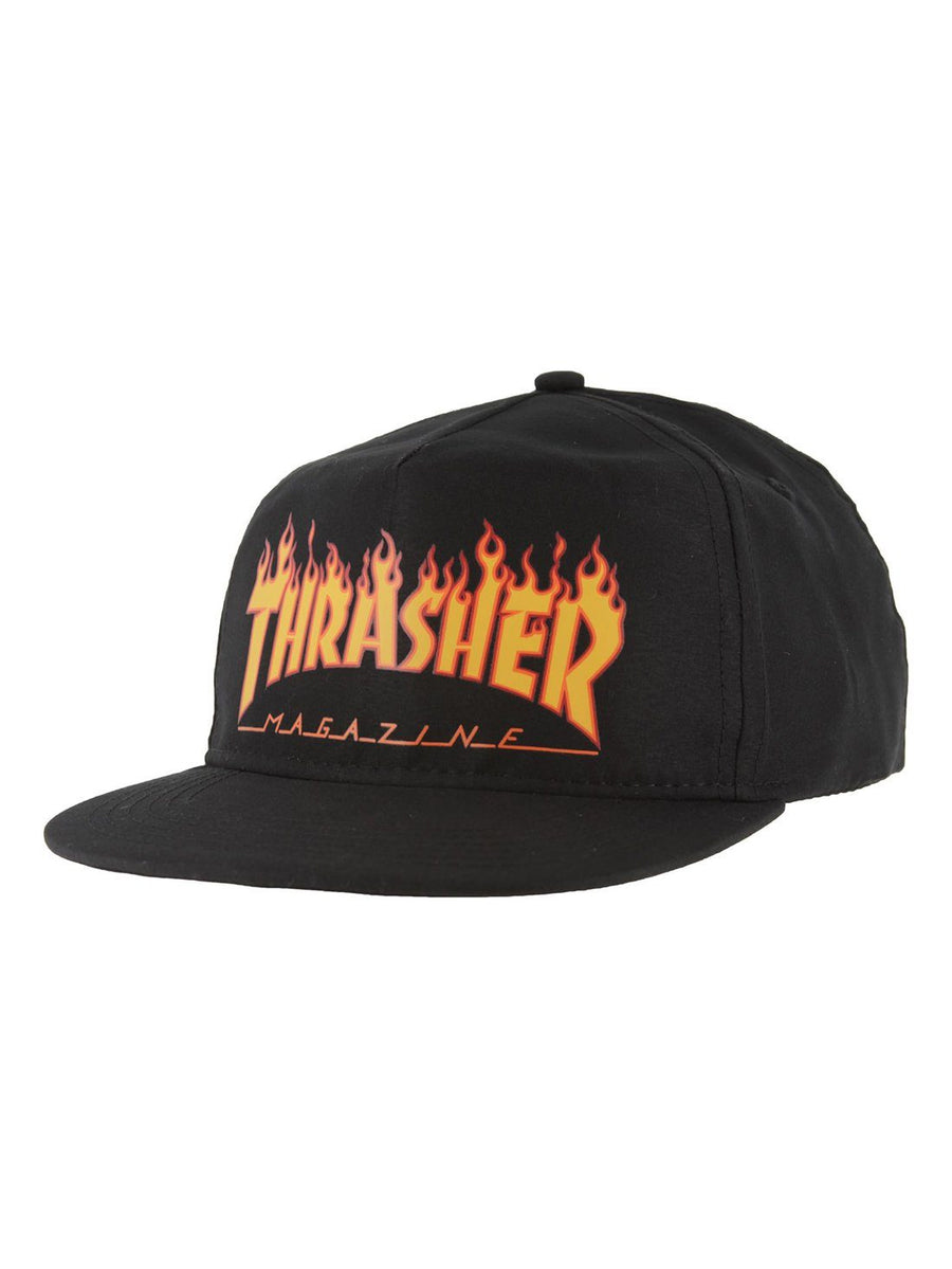 THRASHER Flame Snapback Hat Black MENS ACCESSORIES - Men's Baseball Hats Thrasher