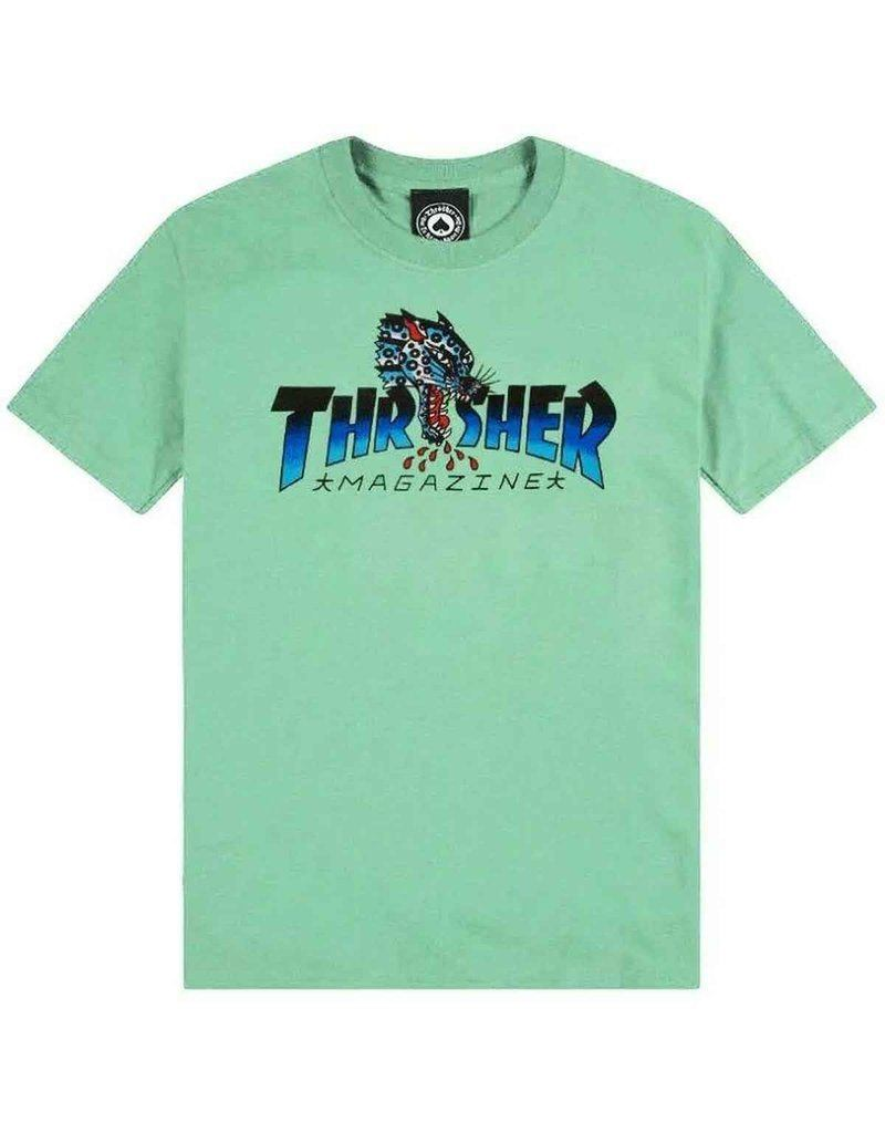 THRASHER Leopard Mag T-Shirt Mint MENS APPAREL - Men's Short Sleeve T-Shirts Thrasher